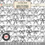 Cutie Pop Repeat Pattern #15 Bows B&W