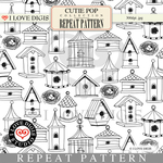 Cutie Pop Repeat Pattern #17 Birdhouses B&W