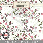 Girlie Pop Repeat Pattern #27 Moss Rose - Pink