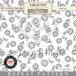 Girlie Pop Repeat Pattern #31 Sunflowers B&W