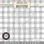Preppy Pop Repeat Pattern #19 Squares B&W