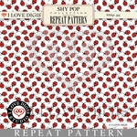 Shy Pop Repeat Pattern #12 Ladybugs - White