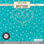 Silly Pop Repeat Pattern #38 Bubbles - Turquoise