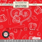 Slugger Pop Repeat Pattern #10 Baseball & Glove