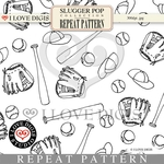 Slugger Pop Repeat Pattern #15 Baseball B&W