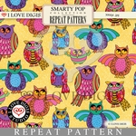 Smarty Pop Repeat Pattern #10 Owls - Gold
