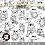 Smarty Pop Repeat Pattern #22 Owls B&W