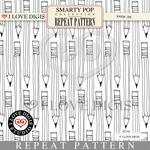 Smarty Pop Repeat Pattern #24 Pencils B&W