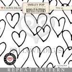 Smiley Pop Repeat Pattern #23 Hearts B&W