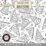 Sneaky Pop Repeat Pattern #15 Pizza B&W
