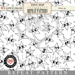 Tiny Pop Repeat Pattern 14 Stars B&W
