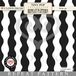 Tiny Pop Repeat Pattern #16 Waves B&W