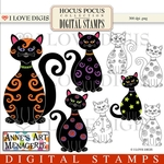Hocus Pocus Black Cats Digital Stamps