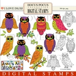 Hocus Pocus Owls Digital Stamps