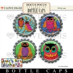 Hocus Pocus Bottle Caps #2 Owls