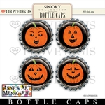 Spooky Bottle Caps #2 Jack-O-Lanterns