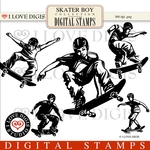 Skater Boy Digital Stamps #1 Skateboard