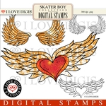 Skater Boy Digital Stamps #4 Wings