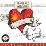 Skater Boy Digital Stamps #5 Heart