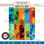 Skater Boy Digital Tag Sheet