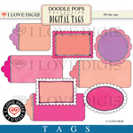 Doodle Pops Tags #2 Pink