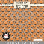 Skater Boy Repeat Pattern #35 Pull Tabs - Orange