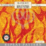 Skater Boy Repeat Pattern #36 Flames - Red