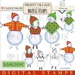 Frosty Village Snow Kids #1 Digital Stamps