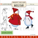 Frosty Village Snow Kids #2 Digital Stamps