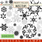Frosty Village Snowflakes Digital Stamps