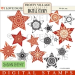 Frosty Village Stars - Red Digital Stamps