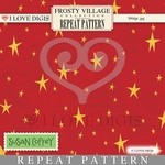 Frosty Village Repeat Pattern #24 Whimsical Stars - Red
