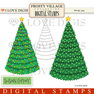 Frosty Village Christmas Trees Digital Stamps