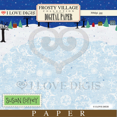 Frosty Village Scene Digital Paper