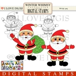 Winter Whimsy Santa Digital Stamps