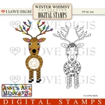 Winter Whimsy Reindeer Digital Stamps