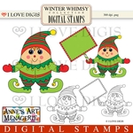 Winter Whimsy Elf Digital Stamps