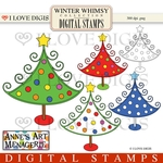 Winter Whimsy Whimsical Christmas Tree Digital Stamps