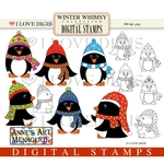 Winter Whimsy Penguins Digital Stamps