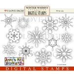 Winter Whimsy Snowflakes Digital Stamps