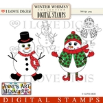 Winter Whimsy Snow Couple Digital Stamps