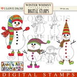 Winter Whimsy Snowmen Digital Stamps