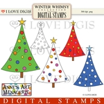 Winter Whimsy Christmas Trees Digital Stamps