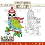 Winter Whimsy Owl Digital Stamps