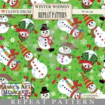 Winter Whimsy Repeat Pattern #17 Snowmen - Green