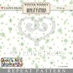 Winter Whimsy Repeat Pattern #19 Snowflakes - Green