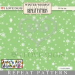 Winter Whimsy Repeat Patterns #21 Snowflakes - White on Green