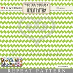Winter Whimsy Repeat Pattern #22 Chevron - Green