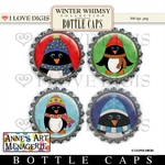 Winter Whimsy Digital Bottle Caps #1 Penguins