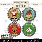 Winter Whimsy Digital Bottle Caps #2 Christmas